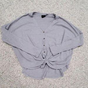 Grey Waffle Tie Sweater